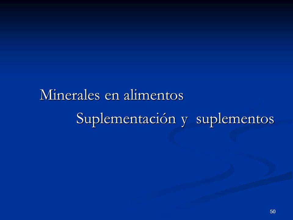 Minerales en alimentos Suplementación y suplementos Suplementación y suplementos 50