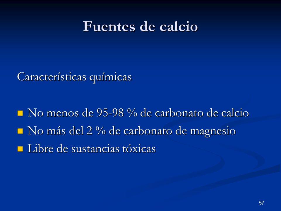 Fuentes de calcio Características químicas No menos de 95-98 % de carbonato de calcio No menos de 95-98 % de carbonato de calcio No más del 2 % de car