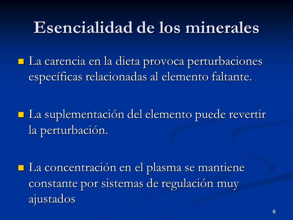 Estructurales (huesos, dientes): Ca, P, Mg, S, Electrolitos: Na/K, presión osmótica Na, K, Clequilibrio ácido básico Permeabilidad membrana celular: Ca,P, Mg, Na, K, Cl Función neuromuscular: Ca, Mg Energía: P Transporte oxígeno: Fe en hemoglobina Estructurales (huesos, dientes): Ca, P, Mg, S, Electrolitos: Na/K, presión osmótica Na, K, Clequilibrio ácido básico Permeabilidad membrana celular: Ca,P, Mg, Na, K, Cl Función neuromuscular: Ca, Mg Energía: P Transporte oxígeno: Fe en hemoglobina 17 Función/grupo de minerales