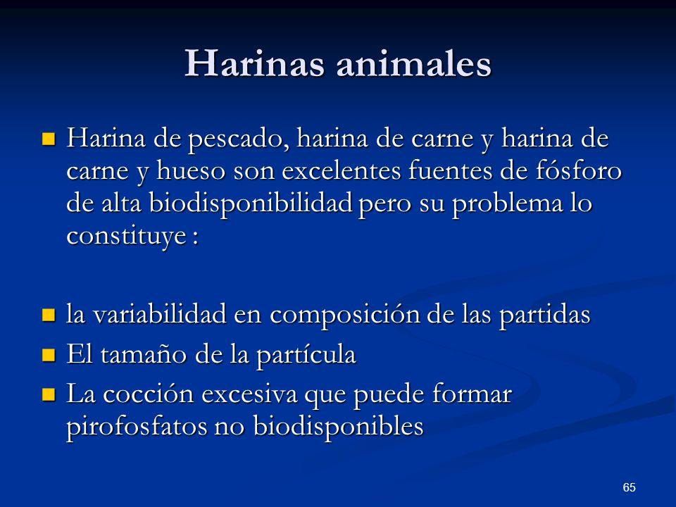 Harinas animales Harina de pescado, harina de carne y harina de carne y hueso son excelentes fuentes de fósforo de alta biodisponibilidad pero su prob
