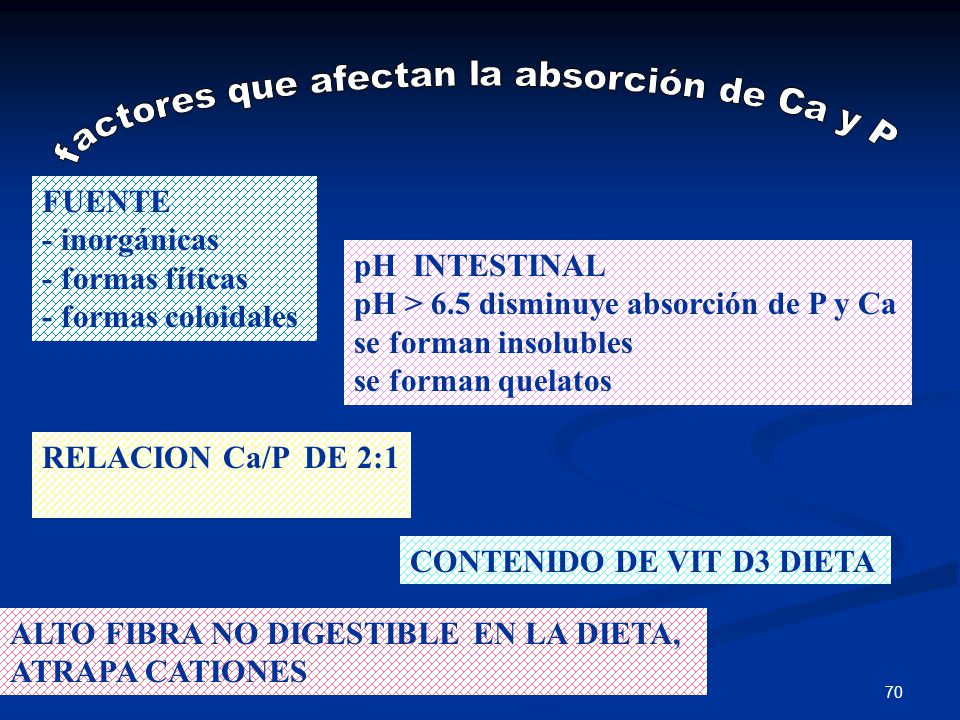 FUENTE - inorgánicas - formas fíticas - formas coloidales pH INTESTINAL pH > 6.5 disminuye absorción de P y Ca se forman insolubles se forman quelatos