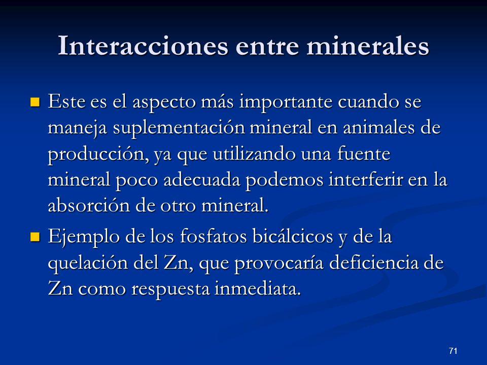 Interacciones entre minerales Este es el aspecto más importante cuando se maneja suplementación mineral en animales de producción, ya que utilizando u