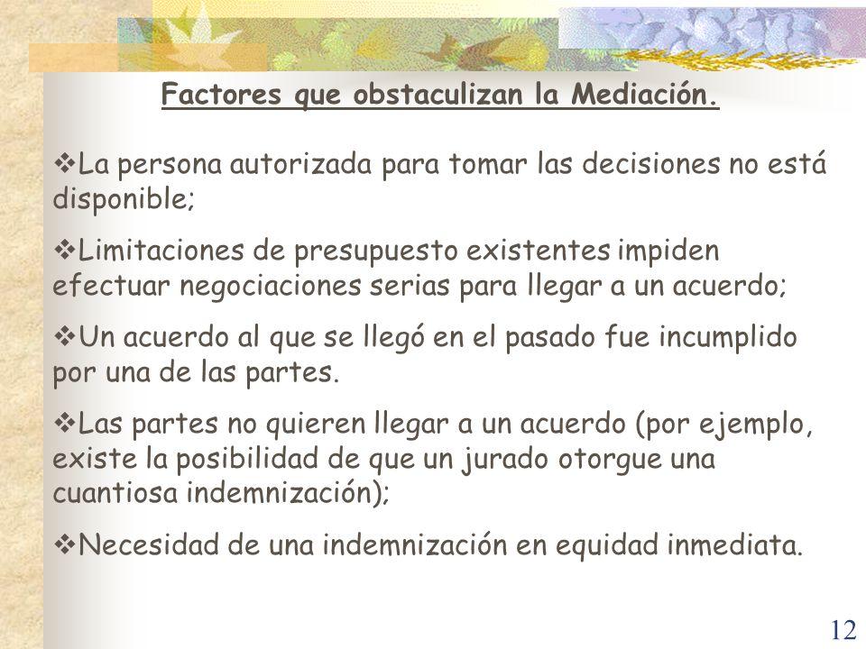 12 Factores que obstaculizan la Mediación. La persona autorizada para tomar las decisiones no está disponible; Limitaciones de presupuesto existentes