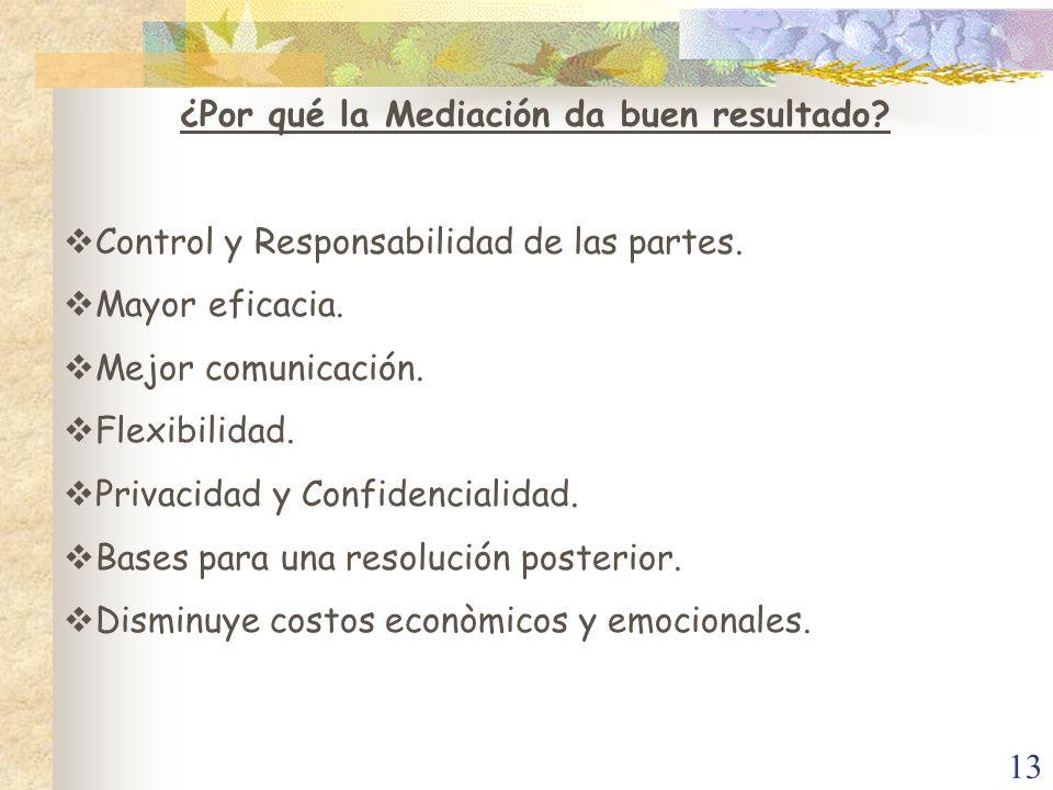 13 ¿Por qué la Mediación da buen resultado? Control y Responsabilidad de las partes. Mayor eficacia. Mejor comunicación. Flexibilidad. Privacidad y Co