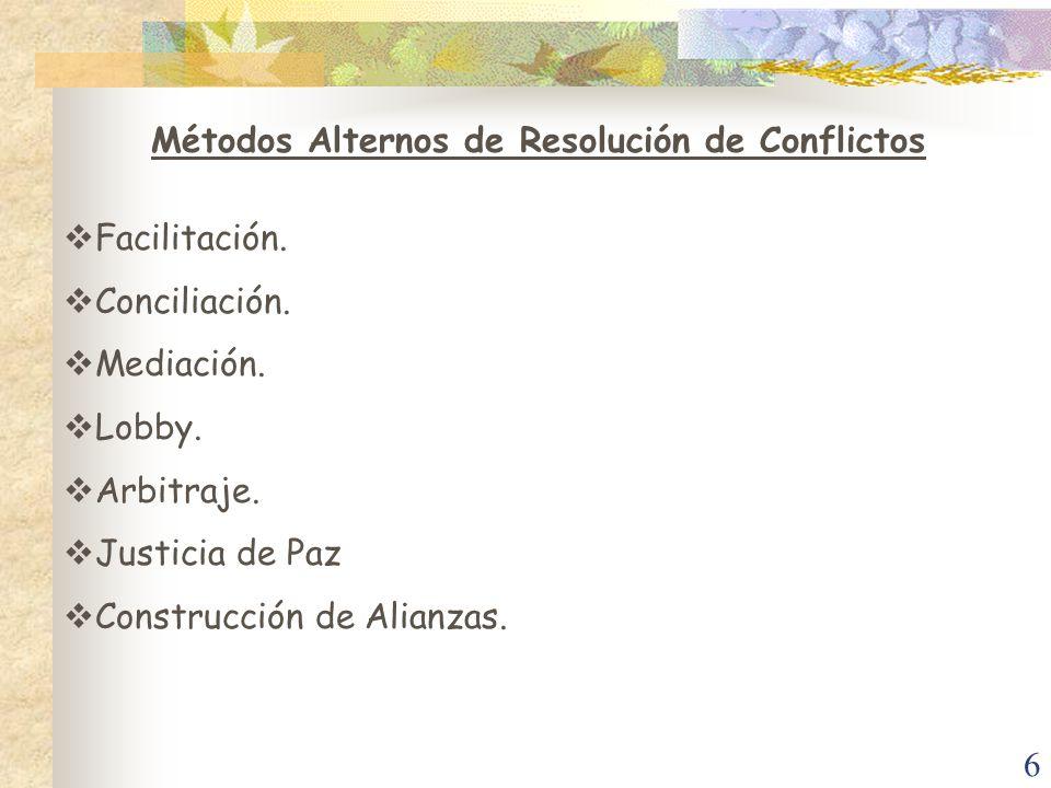 6 Métodos Alternos de Resolución de Conflictos Facilitación. Conciliación. Mediación. Lobby. Arbitraje. Justicia de Paz Construcción de Alianzas.