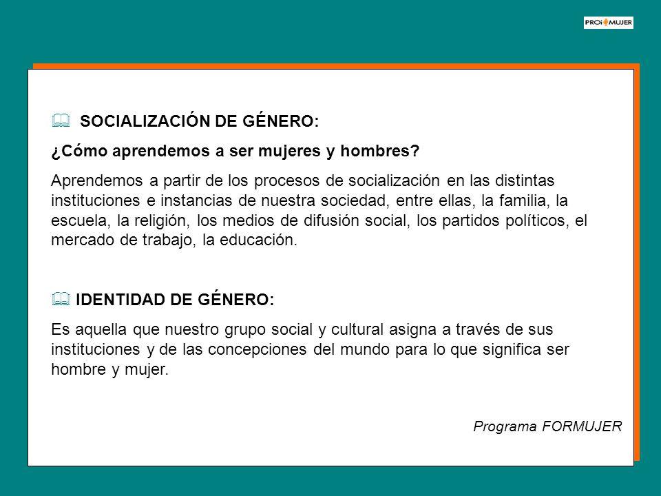 SOCIALIZACIÓN DE GÉNERO: ¿Cómo aprendemos a ser mujeres y hombres? Aprendemos a partir de los procesos de socialización en las distintas instituciones