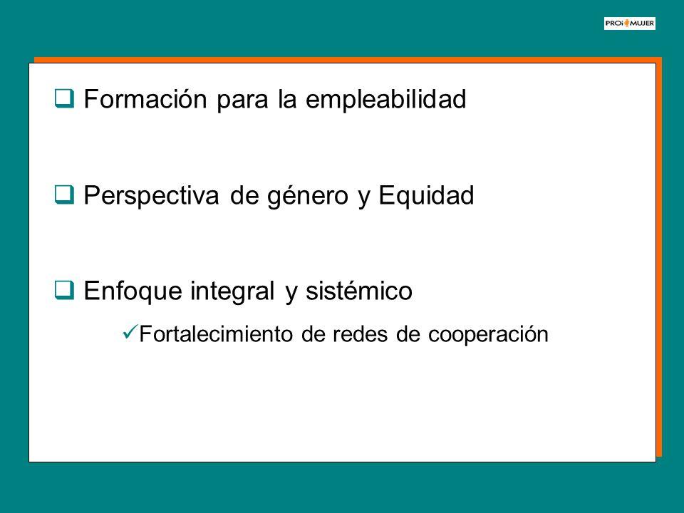 Formación para la empleabilidad Perspectiva de género y Equidad Enfoque integral y sistémico Fortalecimiento de redes de cooperación
