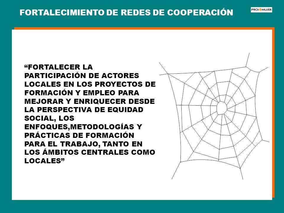 FORTALECIMIENTO DE REDES DE COOPERACIÓN FORTALECER LA PARTICIPACIÓN DE ACTORES LOCALES EN LOS PROYECTOS DE FORMACIÓN Y EMPLEO PARA MEJORAR Y ENRIQUECE