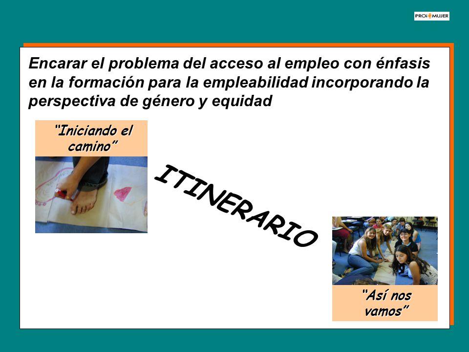 Encarar el problema del acceso al empleo con énfasis en la formación para la empleabilidad incorporando la perspectiva de género y equidad ITINERARIO