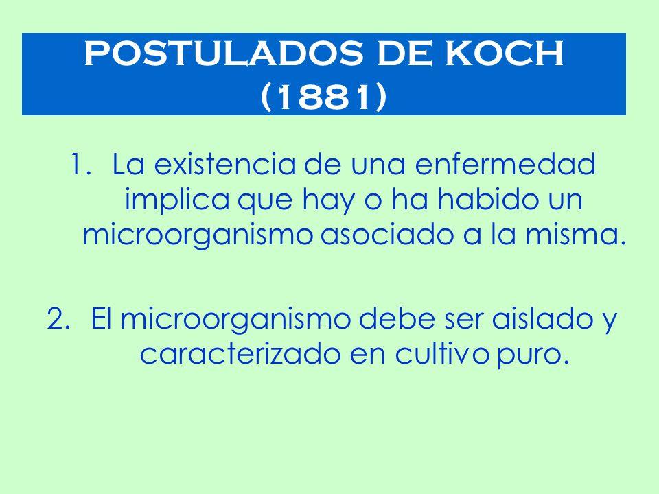 POSTULADOS DE KOCH (1881) 1.La existencia de una enfermedad implica que hay o ha habido un microorganismo asociado a la misma.