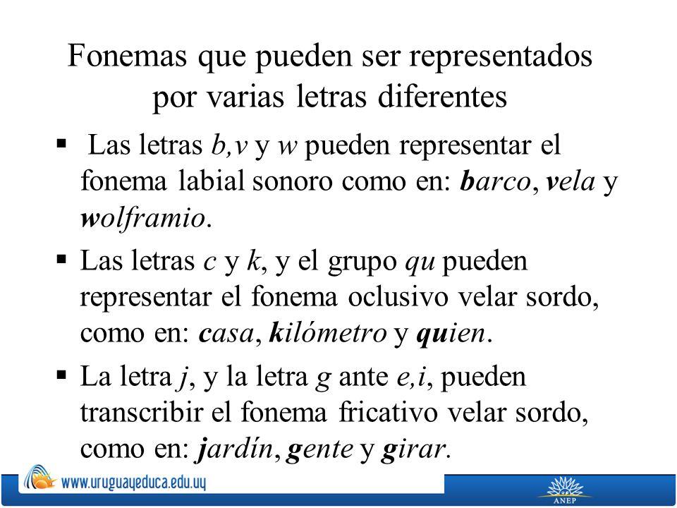 Fonemas que pueden ser representados por varias letras diferentes Las letras b,v y w pueden representar el fonema labial sonoro como en: barco, vela y