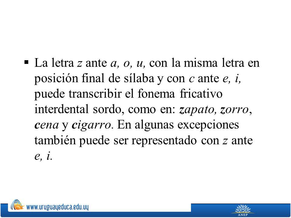 La letra z ante a, o, u, con la misma letra en posición final de sílaba y con c ante e, i, puede transcribir el fonema fricativo interdental sordo, co
