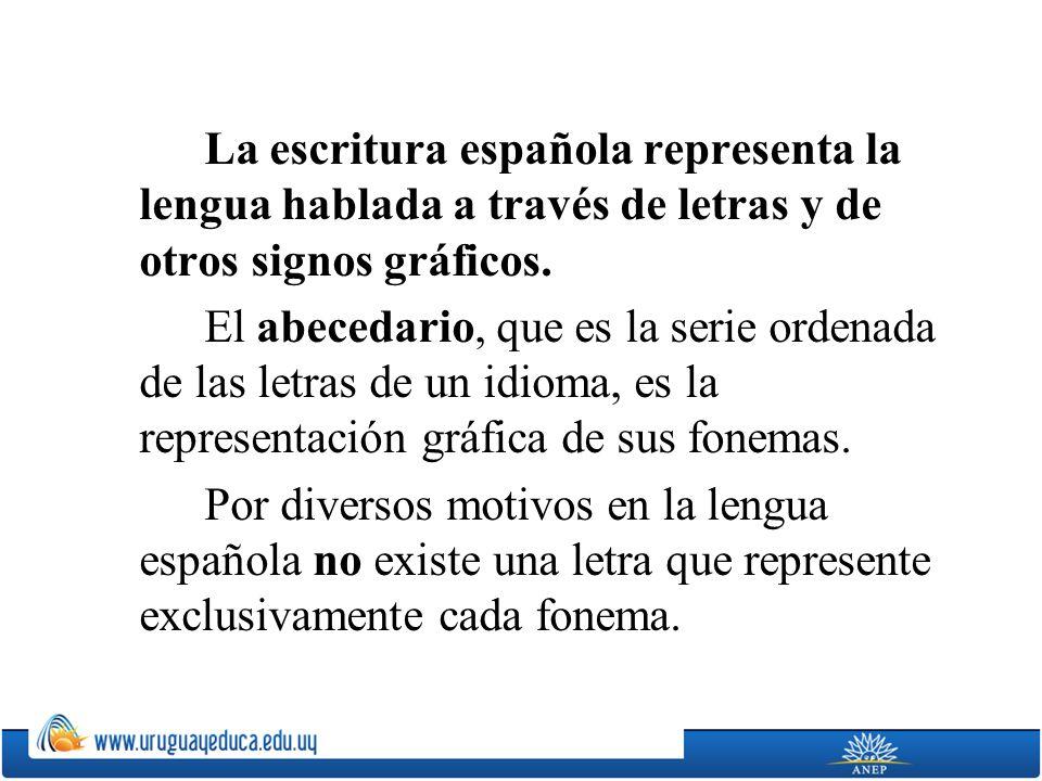 La escritura española representa la lengua hablada a través de letras y de otros signos gráficos. El abecedario, que es la serie ordenada de las letra