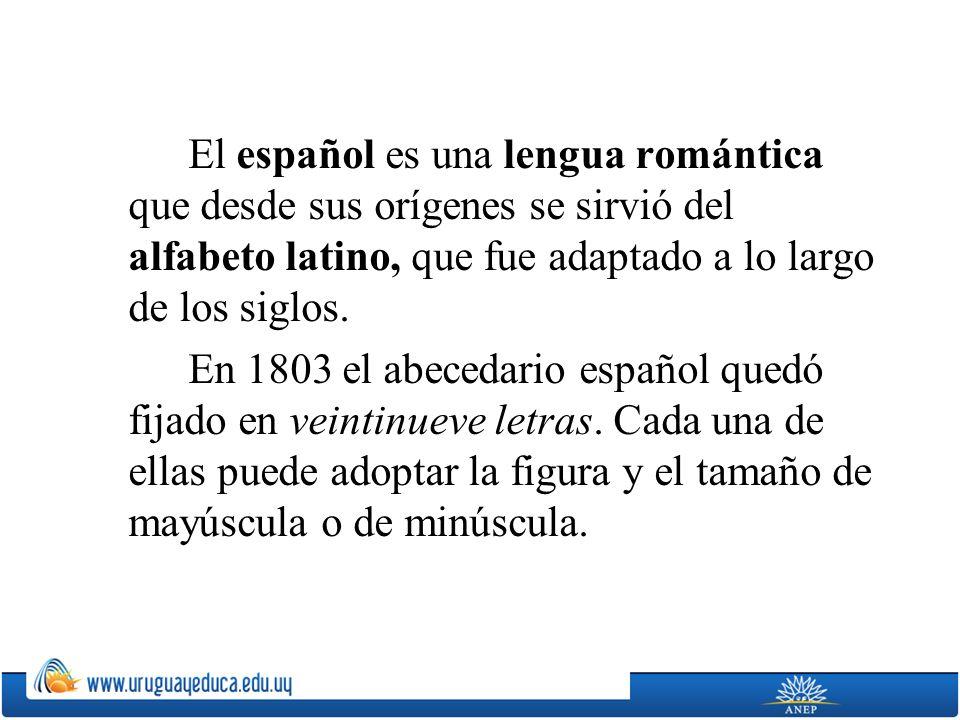 El español es una lengua romántica que desde sus orígenes se sirvió del alfabeto latino, que fue adaptado a lo largo de los siglos. En 1803 el abeceda
