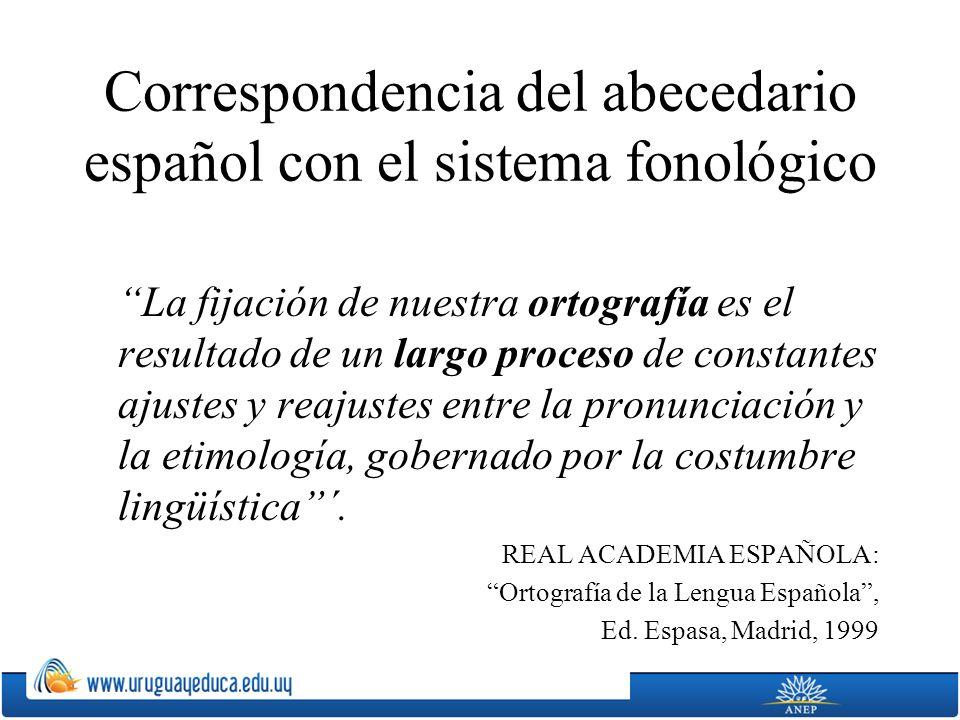 Correspondencia del abecedario español con el sistema fonológico La fijación de nuestra ortografía es el resultado de un largo proceso de constantes a