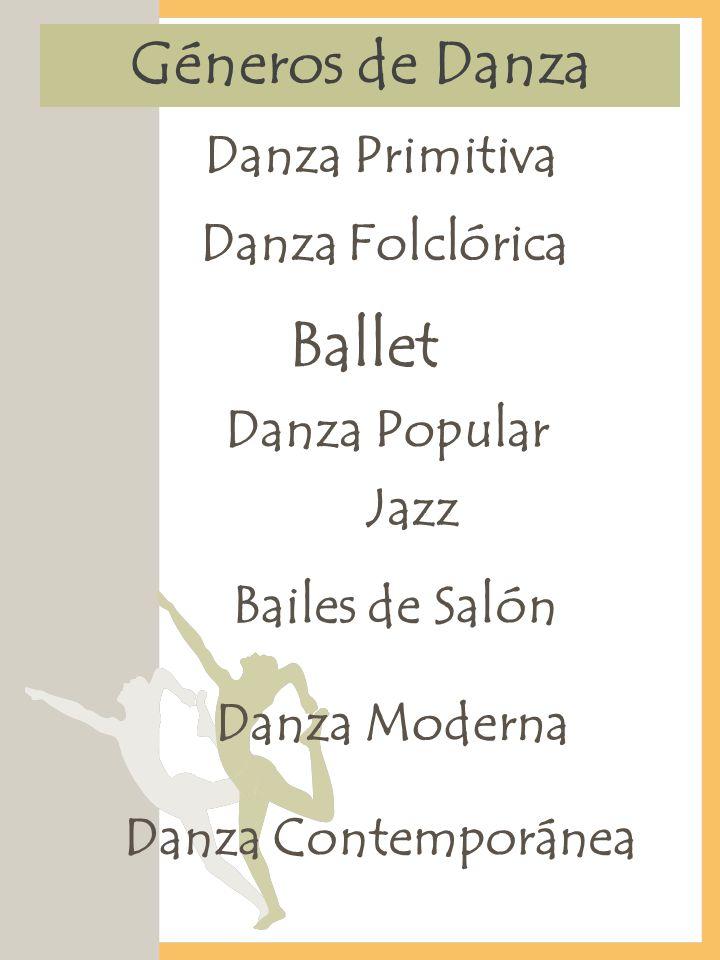 Géneros de Danza Danza Primitiva Danza Folclórica Ballet Jazz Bailes de Salón Danza Contemporánea Danza Popular Danza Moderna