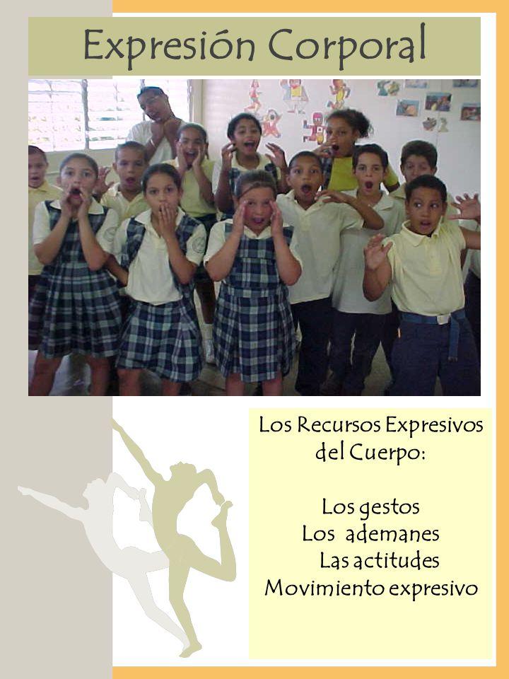 Expresión Corporal Los Recursos Expresivos del Cuerpo: Los gestos Los ademanes Las actitudes Movimiento expresivo