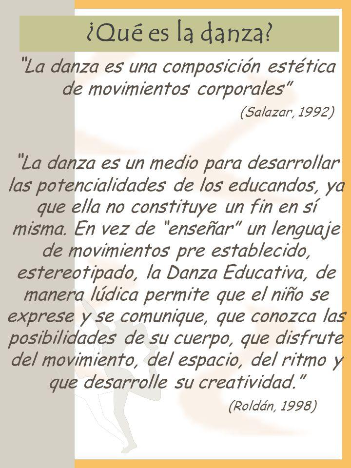 ¿Qué es la danza? La danza es una composición estética de movimientos corporales (Salazar, 1992) La danza es un medio para desarrollar las potencialid