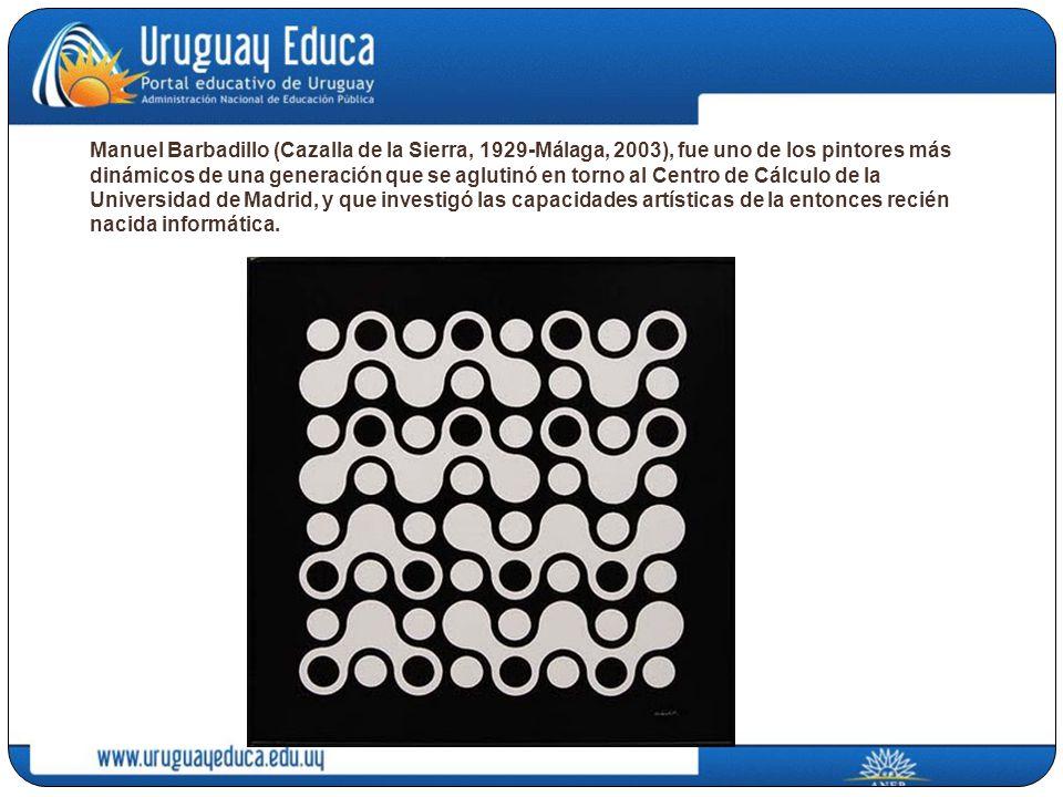 Manuel Barbadillo (Cazalla de la Sierra, 1929-Málaga, 2003), fue uno de los pintores más dinámicos de una generación que se aglutinó en torno al Centro de Cálculo de la Universidad de Madrid, y que investigó las capacidades artísticas de la entonces recién nacida informática.