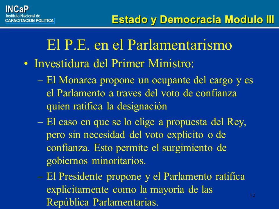 12INCaP Instituto Nacional de CAPACITACION POLITICA Estado y Democracia Modulo III Estado y Democracia Modulo III El P.E.