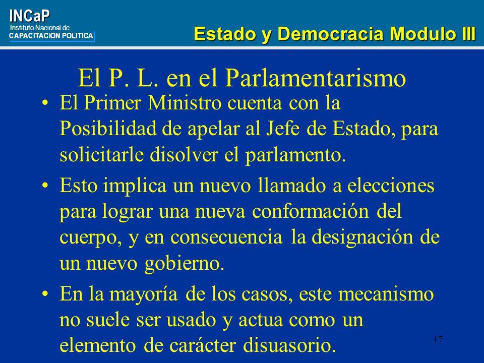 17INCaP Instituto Nacional de CAPACITACION POLITICA Estado y Democracia Modulo III Estado y Democracia Modulo III El P.
