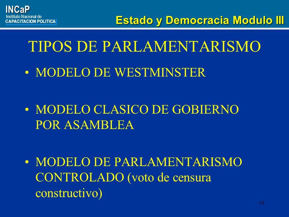 19INCaP Instituto Nacional de CAPACITACION POLITICA Estado y Democracia Modulo III Estado y Democracia Modulo III TIPOS DE PARLAMENTARISMO MODELO DE WESTMINSTER MODELO CLASICO DE GOBIERNO POR ASAMBLEA MODELO DE PARLAMENTARISMO CONTROLADO (voto de censura constructivo)
