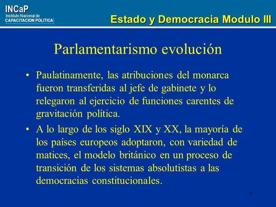27INCaP Instituto Nacional de CAPACITACION POLITICA Estado y Democracia Modulo III Estado y Democracia Modulo III FLORIA, Carlos.