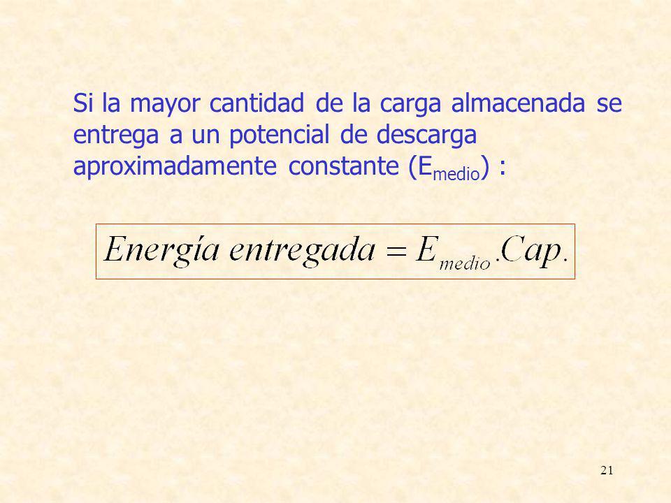 21 Si la mayor cantidad de la carga almacenada se entrega a un potencial de descarga aproximadamente constante (E medio ) :