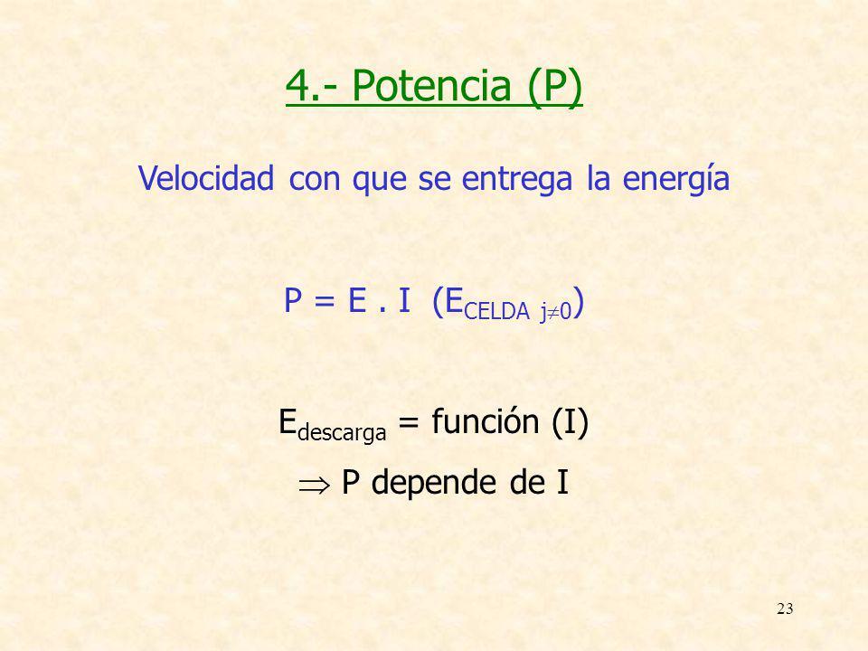 23 4.- Potencia (P) Velocidad con que se entrega la energía P = E. I (E CELDA j 0 ) E descarga = función (I) P depende de I