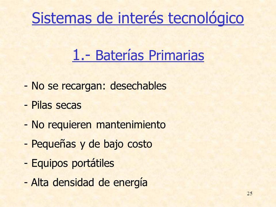 25 Sistemas de interés tecnológico 1.- Baterías Primarias - No se recargan: desechables - Pilas secas - No requieren mantenimiento - Pequeñas y de baj