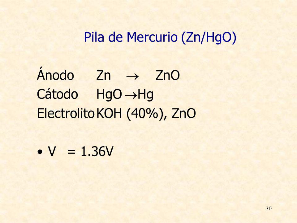 30 Pila de Mercurio (Zn/HgO) ÁnodoZn ZnO CátodoHgO Hg ElectrolitoKOH (40%), ZnO V= 1.36V