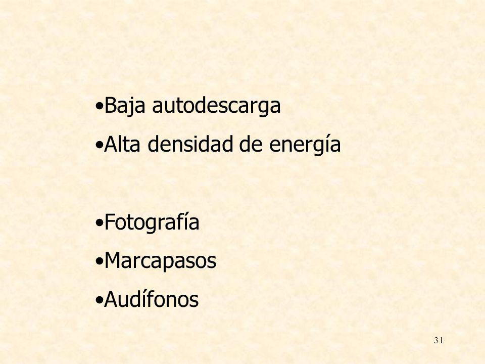 31 Baja autodescarga Alta densidad de energía Fotografía Marcapasos Audífonos