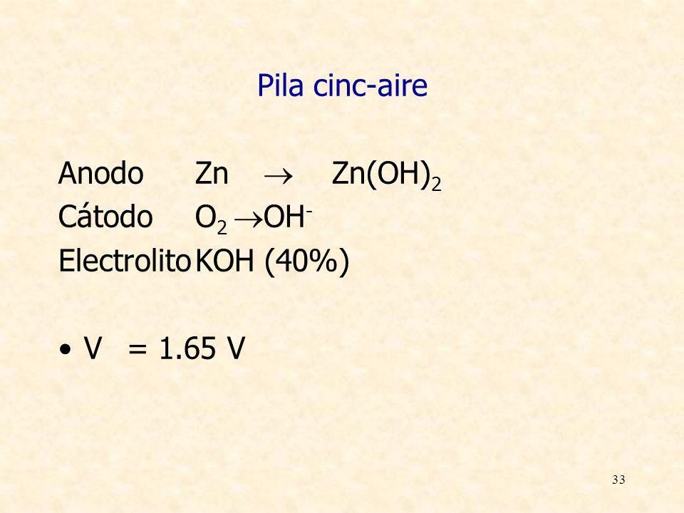33 Pila cinc-aire AnodoZn Zn(OH) 2 CátodoO 2 OH - ElectrolitoKOH (40%) V= 1.65 V