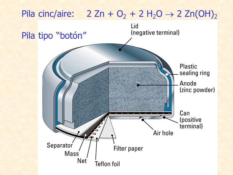 34 Pila cinc/aire: 2 Zn + O 2 + 2 H 2 O 2 Zn(OH) 2 Pila tipo botón