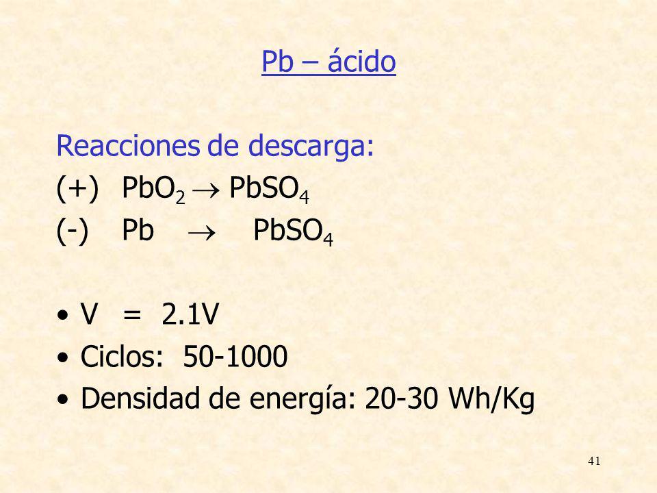 41 Pb – ácido Reacciones de descarga: (+)PbO 2 PbSO 4 (-)Pb PbSO 4 V= 2.1V Ciclos: 50-1000 Densidad de energía: 20-30 Wh/Kg