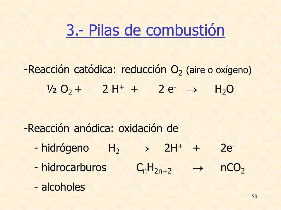58 3.- Pilas de combustión -Reacción catódica: reducción O 2 (aire o oxígeno) ½ O 2 +2 H + +2 e - H 2 O -Reacción anódica: oxidación de - hidrógenoH 2
