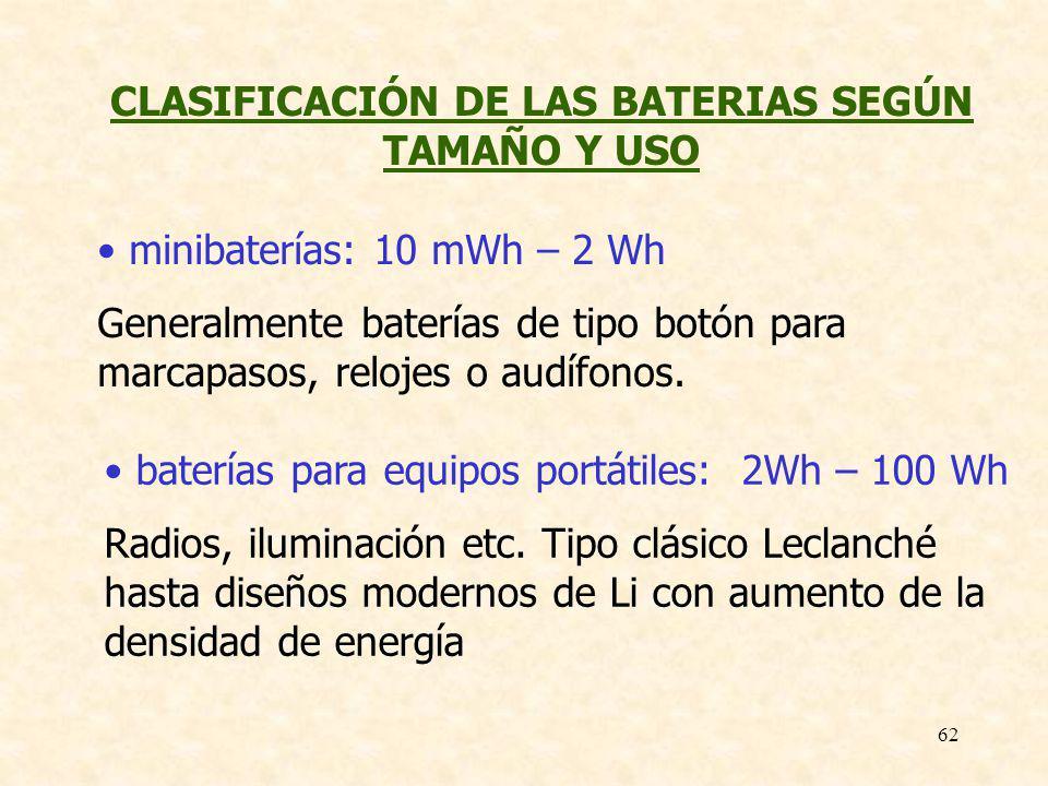 62 CLASIFICACIÓN DE LAS BATERIAS SEGÚN TAMAÑO Y USO minibaterías: 10 mWh – 2 Wh Generalmente baterías de tipo botón para marcapasos, relojes o audífon