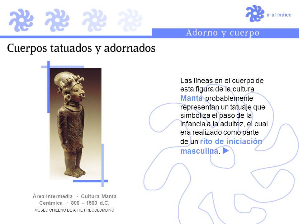 ir al índice Las líneas en el cuerpo de esta figura de la cultura Manta probablemente representan un tatuaje que simboliza el paso de la infancia a la