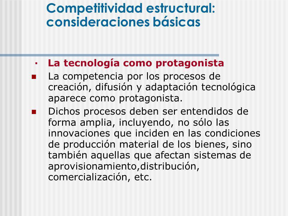 · La tecnología como protagonista La competencia por los procesos de creación, difusión y adaptación tecnológica aparece como protagonista. Dichos pro