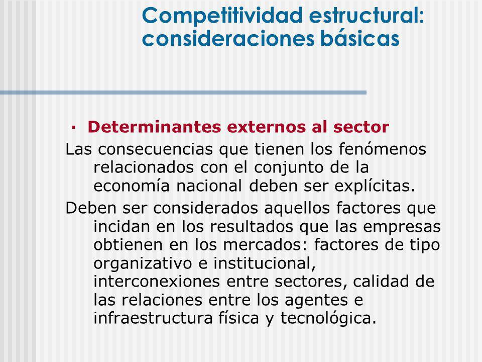 · Determinantes externos al sector Las consecuencias que tienen los fenómenos relacionados con el conjunto de la economía nacional deben ser explícita