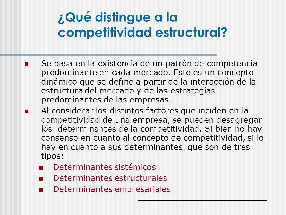Se basa en la existencia de un patrón de competencia predominante en cada mercado. Este es un concepto dinámico que se define a partir de la interacci