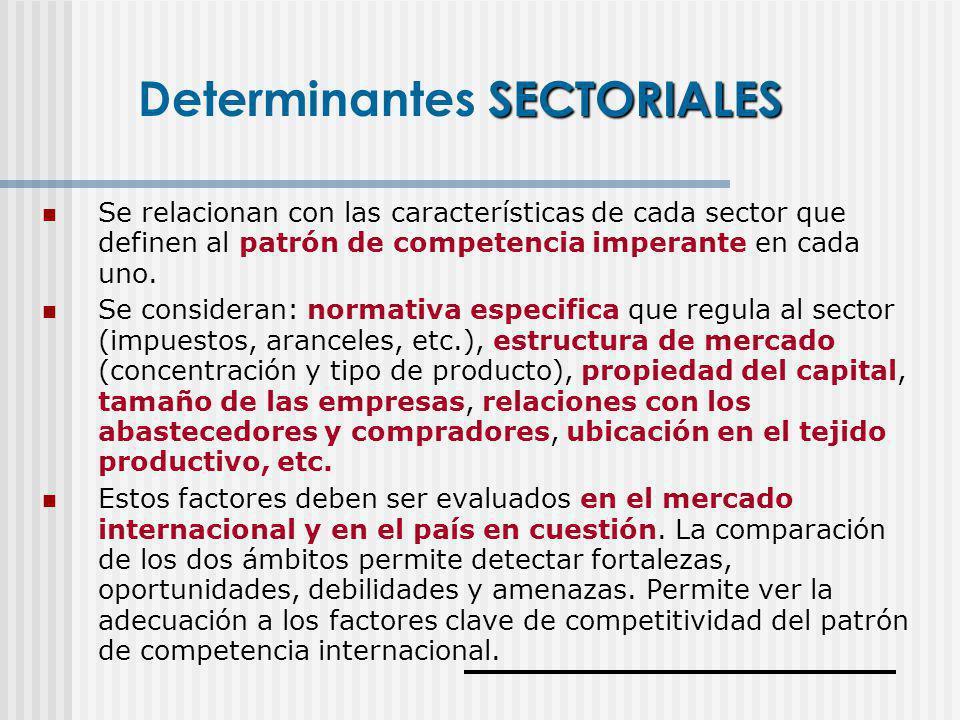 Se relacionan con las características de cada sector que definen al patrón de competencia imperante en cada uno. Se consideran: normativa especifica q