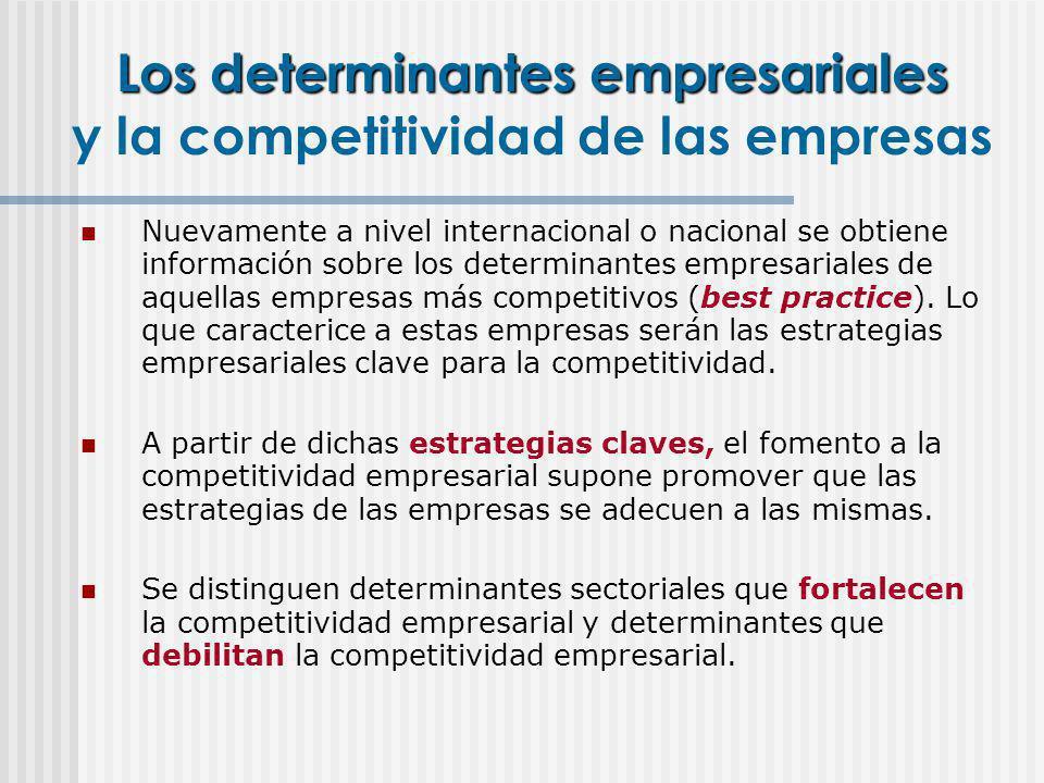 Nuevamente a nivel internacional o nacional se obtiene información sobre los determinantes empresariales de aquellas empresas más competitivos (best p