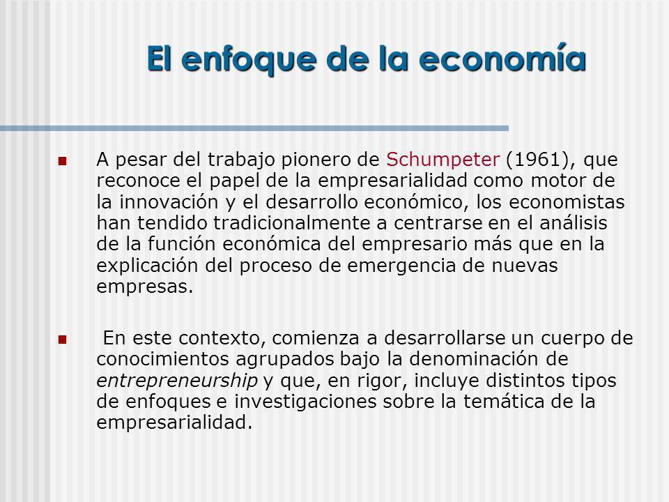 El enfoque de la economía A pesar del trabajo pionero de Schumpeter (1961), que reconoce el papel de la empresarialidad como motor de la innovación y