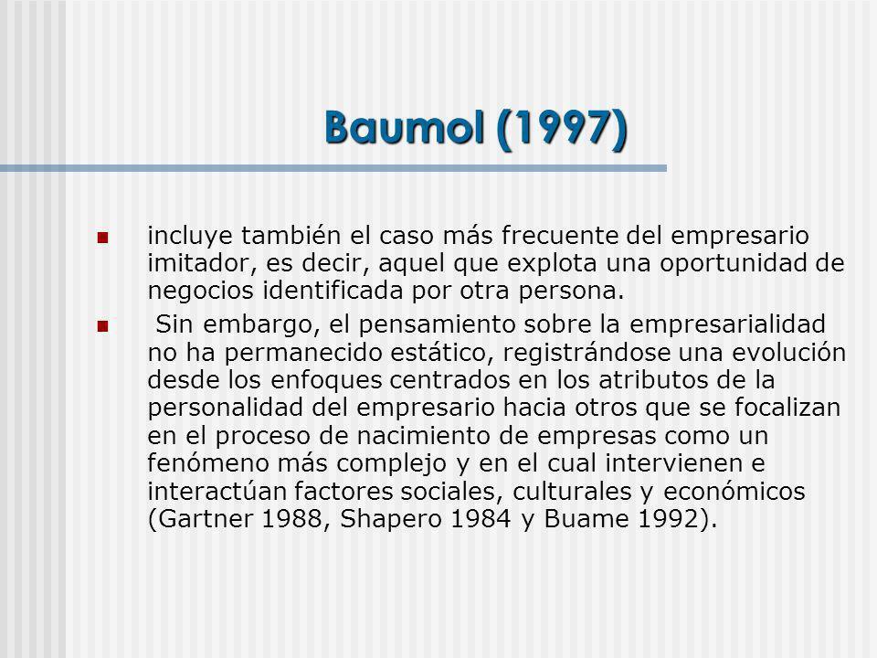 Baumol (1997) incluye también el caso más frecuente del empresario imitador, es decir, aquel que explota una oportunidad de negocios identificada por