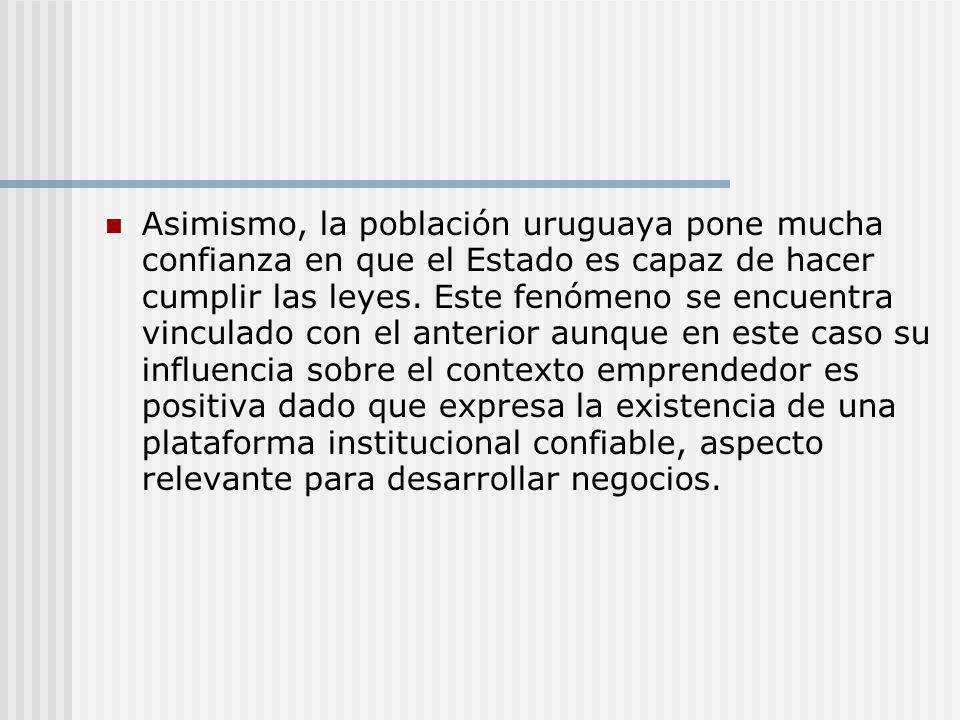 Asimismo, la población uruguaya pone mucha confianza en que el Estado es capaz de hacer cumplir las leyes. Este fenómeno se encuentra vinculado con el