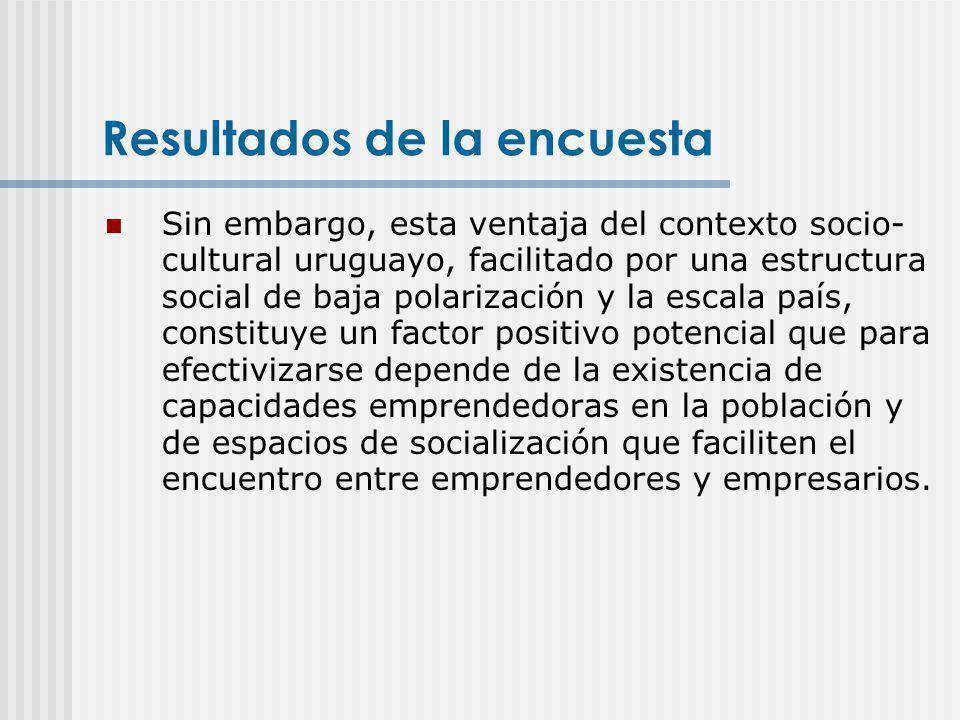 Resultados de la encuesta Sin embargo, esta ventaja del contexto socio- cultural uruguayo, facilitado por una estructura social de baja polarización y