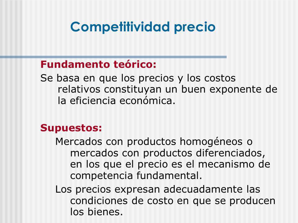 Fundamento teórico: Se basa en que los precios y los costos relativos constituyan un buen exponente de la eficiencia económica. Supuestos: Mercados co