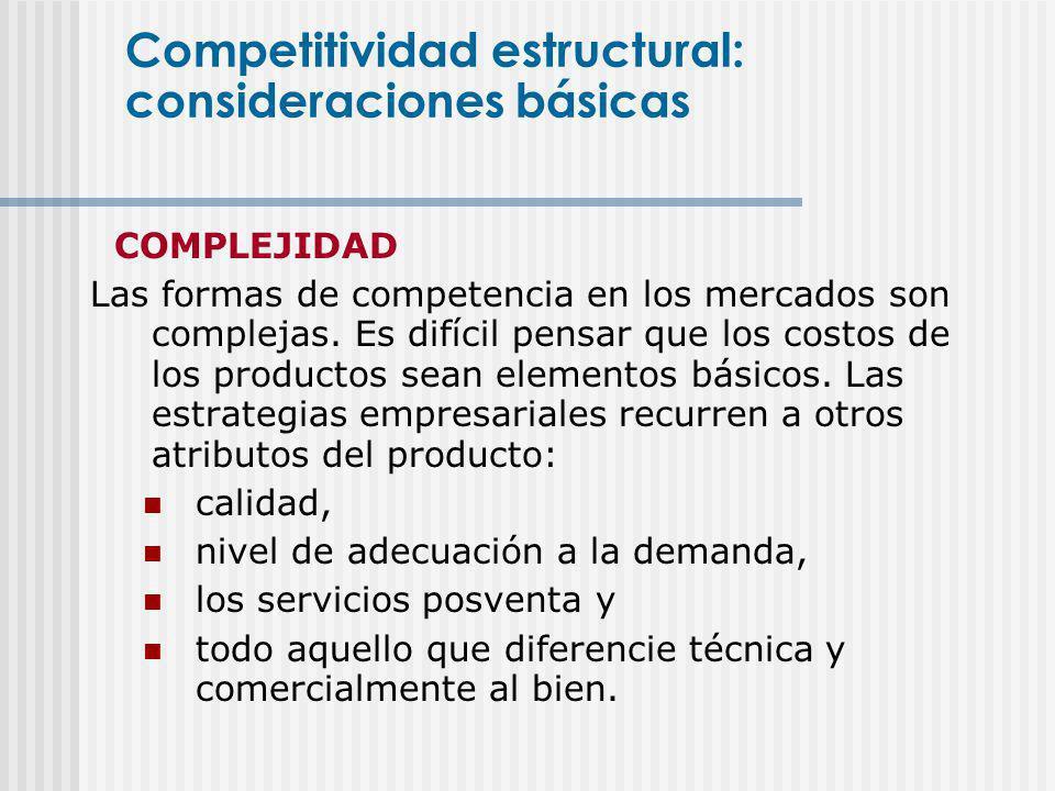 COMPLEJIDAD Las formas de competencia en los mercados son complejas. Es difícil pensar que los costos de los productos sean elementos básicos. Las est