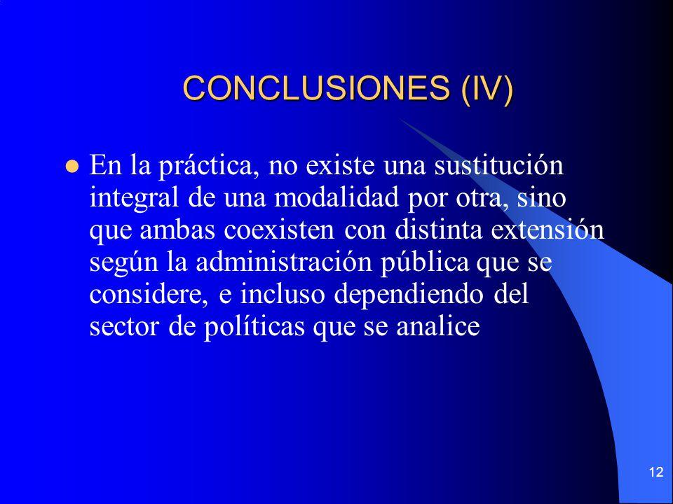 12 CONCLUSIONES (IV) En la práctica, no existe una sustitución integral de una modalidad por otra, sino que ambas coexisten con distinta extensión seg